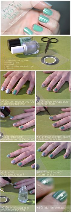 How to strip nails - shown here silver foil with jade green cream