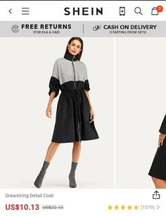 Buy SHEIN WOMEN Drawstring Detail Coat Use promocode: SADCA15 to get extra 15% discount