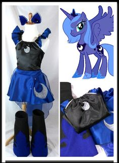 Princess Luna Costume Top, Skirt, Cape, Boots, Ears Kids/Adult sz by… Villain Costumes, Girl Costumes, Adult Costumes, Mermaid Costumes, Couple Costumes, Pirate Costumes, Princess Costumes, Group Costumes, Family Halloween Costumes