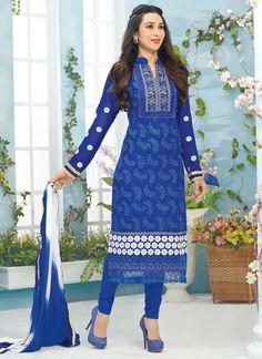 Blue #KarishmaKapoor Churidar #Suit