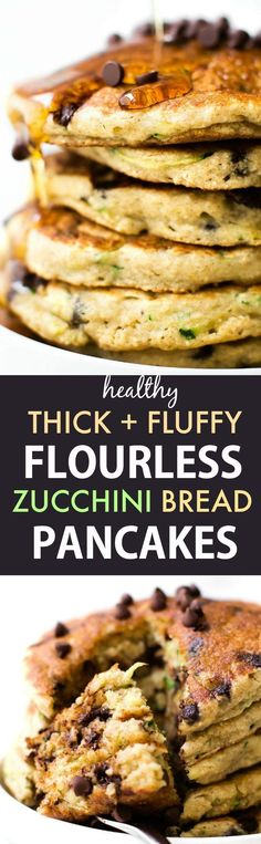 Healthy Flourless Zucchini Bread Pancakes (Vegan, Gluten Free, Sugar Free)- Easy blender pancakes made with no flour, no eggs and ready in 5 minutes!