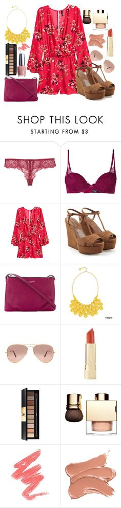 """""""floral romper"""" by pocketfullofglitter ❤ liked on Polyvore featuring Samantha Chang, La Perla, H&M, Sergio Rossi, Marc Jacobs, Alexa Starr, Ray-Ban, Yves Saint Laurent and OPI"""