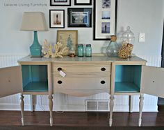 lovely buffet re-do with a pop of color on the inside.