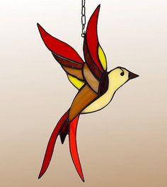 Pájaro de vidrio tiffany cristal pájaro. Un por AmberGlassArt