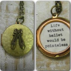 """""""life without ballet would be pointeless"""" - A fun pun on the 'Pointe' shoe -. This vintage locket features bronze ballet shoes on the front of a basketweave type brass.The locket measures 27mm. Gorgeous and sturdy, it opens to reveal the fun quote. If you would like to purchase this without the quote, just convo me. It hangs on a brass chain--choose your desired length at checkout. It comes beautifully packaged and ready for gifting. shipping fees include delivery confirmation ..."""