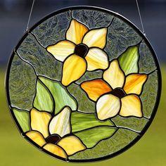 Stained glass orange flower trio suncatcher, stain glass orange flower ornament on Etsy