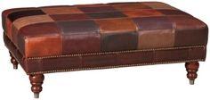 $599 Jordans - Main Room Futura-Patchwork-Futura Patchwork Leather Cocktail Ottoman  - Jordan's Furniture