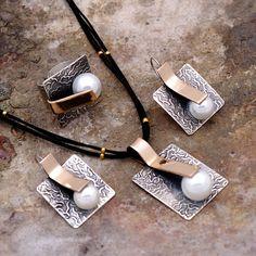 İnci Taşlı Tasarım El Yapımı Dövme Gümüş Set 1725