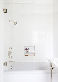 tiny Bathroom Decor How to master the perfect white marble bathroom. View Upper East Side apartment we paired statuary marble with pure white thassos and crystal and nickel console sink from Waterworks. Bad Inspiration, Bathroom Inspiration, Bathroom Ideas, Black Marble Bathroom, Marble Showers, Tiny Bathrooms, Condo Bathroom, Bathroom Showers, Downstairs Bathroom