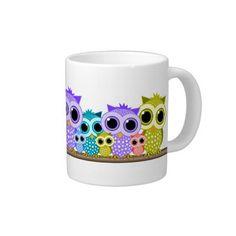 cute row of owls jumbo mugs