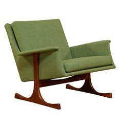 Ib Kofod Larsen; Walnut Lounge Chair, 1950s.