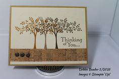 Thoughts & Prayers stamp set. Card stock: Ivory, Delightful Dijon & Crumb Cake. Ink: Delightful Dijon, Crumb Cake & Soft Suede. Cork ribbon & brads are from my stash.