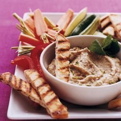 Try this hummus-like lemon cilantro eggplant dip for Game Day. #myplate #superbowl