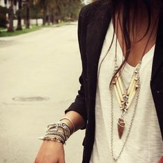 Jewelry all over, with plain shirts! CUTE!