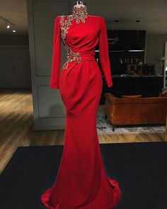 Embellished Red Mermaid Evening Dress / Evening Gown with High Neckline, Long Sleeves and a small Train. Dress by Valdrin Sahiti Mermaid Evening Dresses, Formal Evening Dresses, Formal Gowns, Elegant Dresses, Evening Gowns, Sexy Dresses, Mermaid Gown, Dress Formal, Dresses Uk