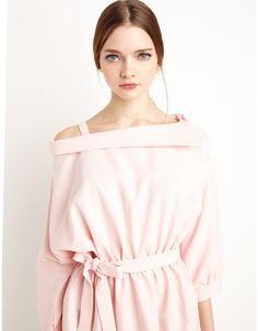 Pale Pink Off the Shoulder Shirt Dress