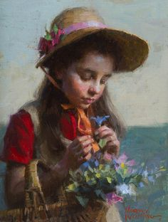 Morgan Weistling - Wildflowers - SMALLWORK CANVAS EDITION from the Greenwich Workshop Fine Art Gallery featuring fine art prints, canvases, books, porcelains and gift ideas. Portrait Art, Portraits, Morgan Weistling, Flora Und Fauna, Fine Art Gallery, Figure Painting, Beautiful Paintings, Figurative Art, Painting Inspiration