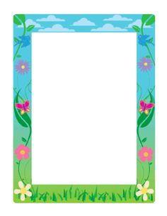 This spring border uses cool blues and greens and includes colorful flowers, butterflies, and birds on a cloudy sky background. Free to download and print.