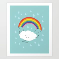 Buy rainbow parachute Art Print by milkyprint. Worldwide shipping available at Society6.com. Just one of millions of high quality products available.