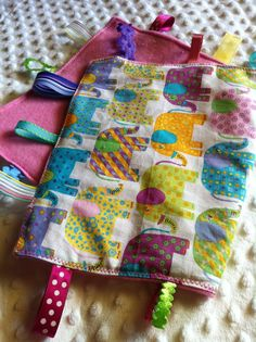 Crinkle tag rag sensory blanket Girly Elephant, by NapTimeMakings, $12.00