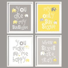 Yellow and Gray Nursery Decor Prints  You Are My by YassisPlace, $88.00