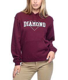 Diamonds are meant to be worn everywhere not just as your accessories. This Overlap burgundy hoodie from Diamond Supply Co. will…