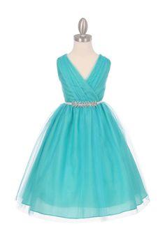 Jade Tulle V-Neck with Removable Rhinestone Grossgrain Tape Sash Flower Girl Dress