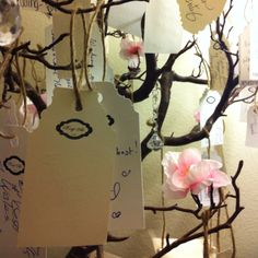 Wish tree hanging tags: custom made stamp, crafts scissors and twine :)