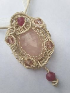 ❤ø Rose #Quartz Pendant- Wire #Wrapped and Woven  -  Antique White  on Copp... Free http://etsy.me/2hHBzdj