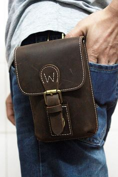 Mens Waist Bag Hip Bag Handmade Thick Leather by BJLeatherCorner on Etsy.