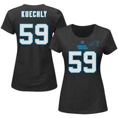 Women's Plus Size Carolina Panthers Luke Kuechly Majestic Black Fair Catch Name & Number T-Shirt