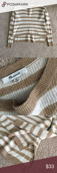 Made well Cropped Sweater Super cute brown and white cropped sweater. Worn several times but it just is too small for me. Perfect with jeans and boots! NO TRADES Madewell Sweaters