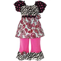 @Overstock.com - AnnLoren Girls' 2-piece Smocked Paisley/ Polka-dot/ Zebra Outfit - Every day can be a celebration when this colorful girl's outfit is in your princess's wardrobe. Paisley and zebra prints are combined with brilliant pink to create a two-piece ensemble perfect for toddlers who love to be the center of attention.  http://www.overstock.com/Clothing-Shoes/AnnLoren-Girls-2-piece-Smocked-Paisley-Polka-dot-Zebra-Outfit/7623051/product.html?CID=214117 $25.98