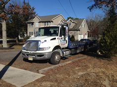 Flat bed tow truck. Wrecker, rollback, international durastar , my old tow truck, tri state towing and guenthers towing
