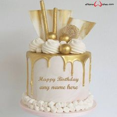 write name on pictures with eNameWishes by stylizing their names and captions by generating text on Golden Birthday Cake Design with Name with ease.