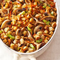Carrot-Mushroom Stuffing; Add an extra helping of hearty fall vegetables to the Thanksgiving meal with this simple stuffing recipe. Here carrots and mushrooms take center stage in this side dish.