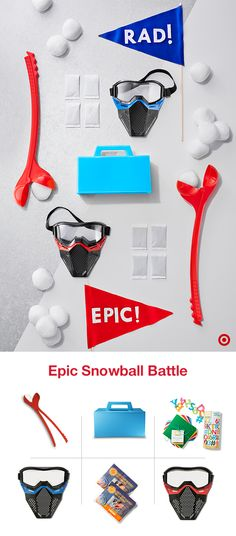 Ready to take your snowball battle to the next level? Gear up for wild winter fun with everything you need for an all-day, all-out snowball fight: snow masks and hand warmers, snowball makers and supplies to create team pennants. Pick your teams, pick your rules and enjoy an epic holiday snowball fight.