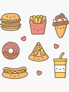 'Kawaii Love Junk Food Doodles' Sticker by rustydoodle - sticker ilhamı Doodles easy Cute Doodles Drawings, Cute Food Drawings, Mini Drawings, Cute Kawaii Drawings, Food Drawing Easy, Kawaii Love, Arte Do Kawaii, Kawaii Art, Kawaii Style