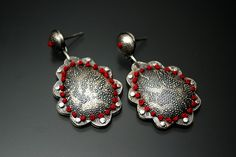 embroidered sterling silver etched earrings by lynette andreasen