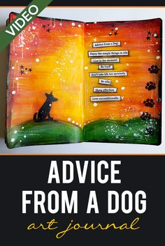 Fluid Acrylics + Stamps -Advice from a #Dog Mixed Media #ArtJournal #artjournaling | Fluid acrylics, decoart, art journal, dog, pastel pencil, gesso, stamps, mixed media, tutorial, process, decoart media fluid acrylics, beginner, easy