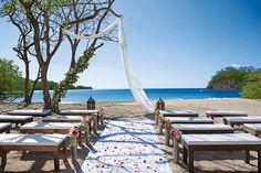 A scenic wedding setup at Dreams Las Mareas.