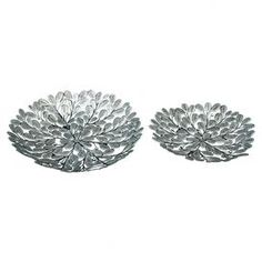 """Set of two iron trays with branch and leaf motifs.  Product: Small and large trayConstruction Material: IronColor: SilverDimensions: Small: 18"""" DiameterLarge: 22"""" Diameter"""