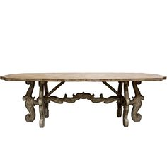 Scroll Pedestal Farm Table- French Country