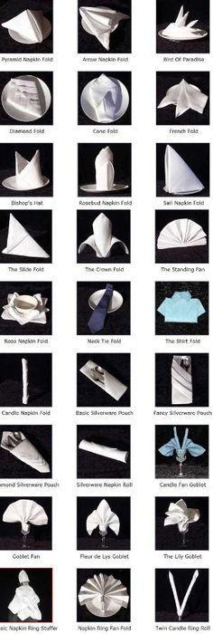 fold a napkin----SO COOL A CHART STEP BY STEP ON NAPKIN DESIGN FOLDING by esmeralda