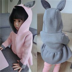 Retail New girls jacket animal rabbit design cotton spring autumn baby girl coat children jackets kids coat for girls clothing