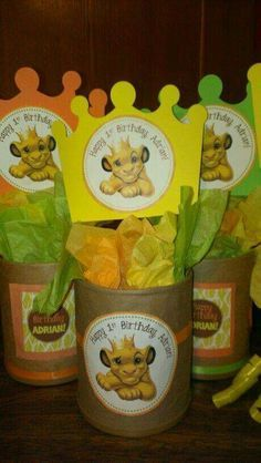 Buy colorful cups and tape thank you note. Look for crowns and colored paper Lion King Theme, Lion King Party, Lion King Birthday, Baby Boy 1st Birthday, 1st Boy Birthday, 1st Birthday Parties, Birthday Party Decorations, Party Centerpieces, Birthday Ideas