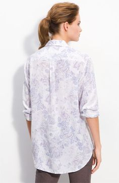 Equipment/ Vintage Rose Print Silk Shirt