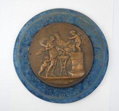 Antique-19c-Italian-Bronzed-Mounted-Plaque-Classical-Cherubs-Oracle