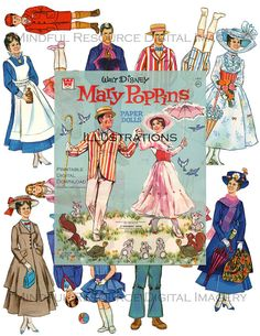 Mary Poppins Vintage Paper Doll Illustrations Disney Movie 1973 Collage Supply - 28 Printable Dolls - Altered Art Supply - Digital Download by mindfulresource