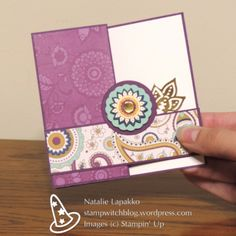 Petals and Paisleys Double Z folded card, design by Natalie Lapakko. Fun Fold Cards, Folded Cards, Card Making Tutorials, Making Cards, Craftwork Cards, Square Card, Card Sketches, Creative Cards, Hobbies And Crafts